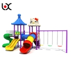 Custom made plastic kids play outdoor playground amusement park with slide and swing equipment
