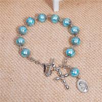 Fashion Blue Cross Jesus Heart Imitation Pearl Bracelet Wholesale Glass Prayer Rosary Beads Bracelets