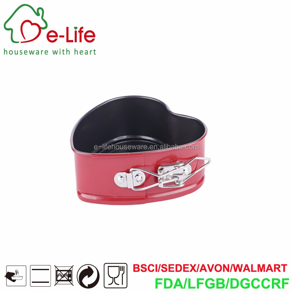 Color Coated Mini Heart Shaped Springform Pan with Stainless Steel Lock, Sized Dia.12x4.5cm