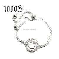 Adjustable Smile Face Charm Bracelet 925 Sterling Silver Micro-pave Bracelet Fashion Jewelry Wholesale