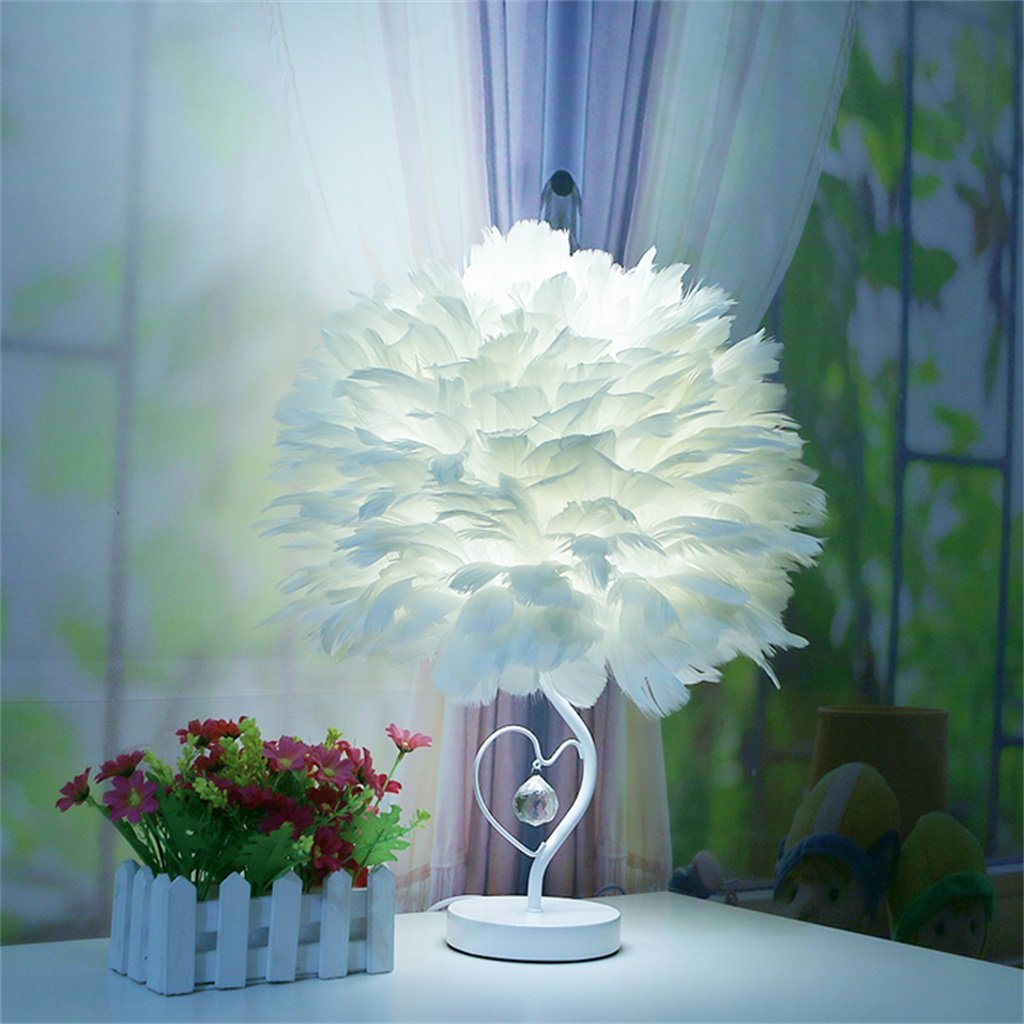 WENBO HOME- Creative minimalist creative decorative feather table lamp fashion small lamp -Desktop lamp ( Color : White )