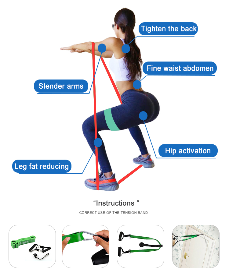 Sports Fitness Exercise Stretch Thick Latex Resistance Loop Band Set
