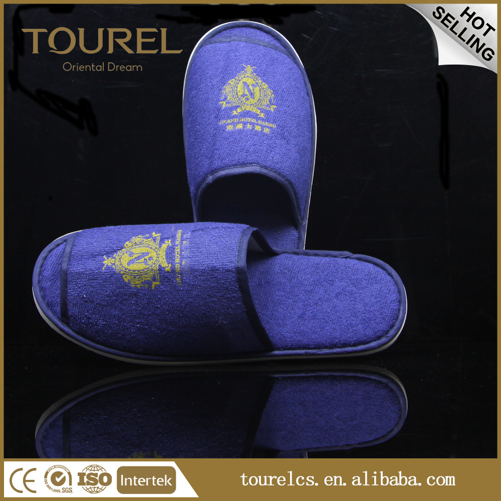 Hotel velvet slippers custom velvet slippers washable hotel guest slippers