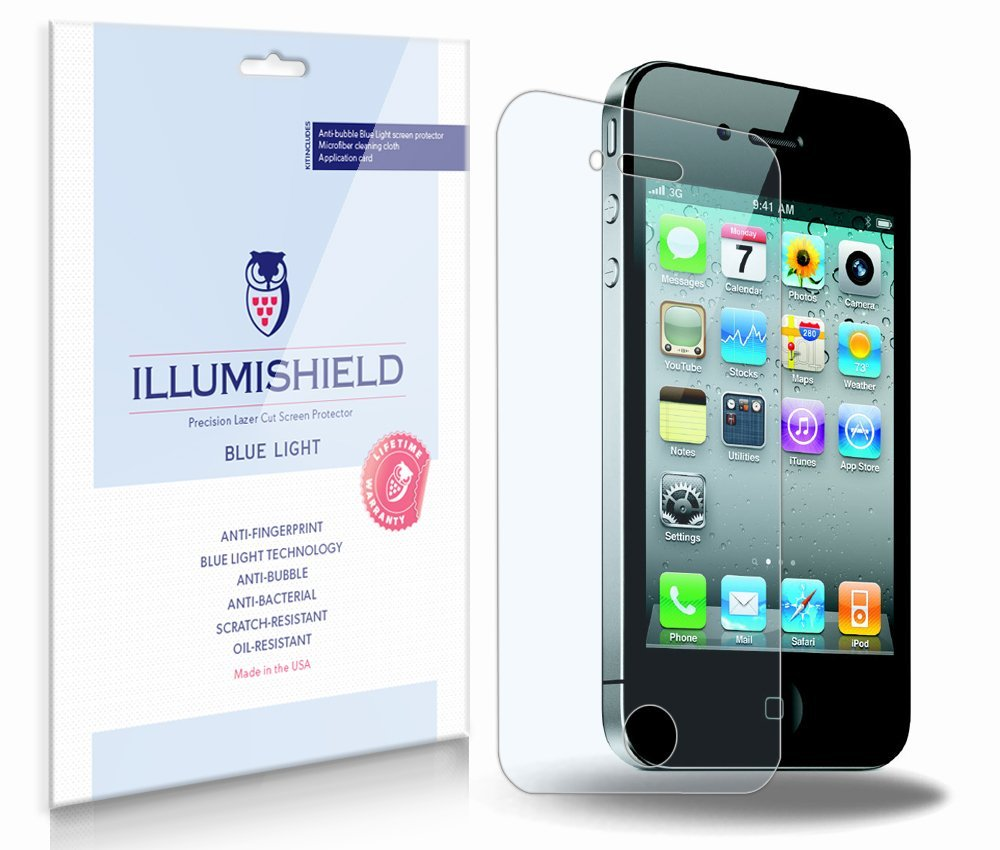iLLumiShield – Apple iPhone 4S (AT&T) (HD) Blue Light UV Filter Screen Protector Premium High Definition Clear Film / Reduces Eye Fatigue and Eye Strain – Anti- Fingerprint / Anti-Bubble / Anti-Bacterial Shield - Comes With Free LifeTime Replacement Warranty – [2-Pack] Retail Packaging