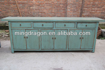 Chinese Antique Shanxi Long Blue Sideboard Cabinet