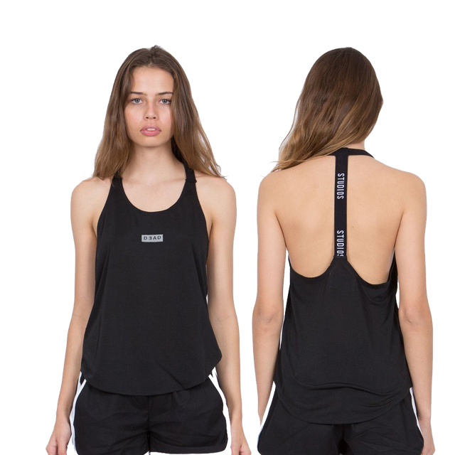 Custom reflective logo scoop back tail open back low cut arms stringer gym tank top for women