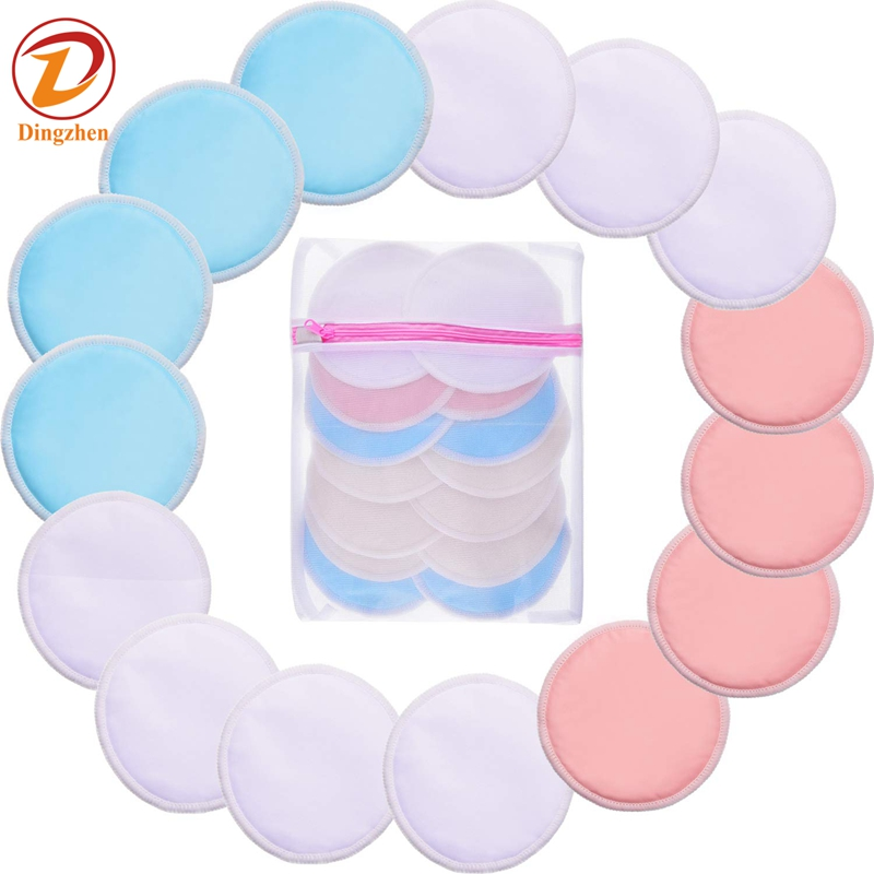 Bamboo Cotton Rounds Padswith Laundry Bag 3 Layers nursing makeup remover pads, Multi colors