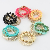 Fashion Candy Color Rose Flower Multi-layer Beads Stretch Charm Bracelet Bangle