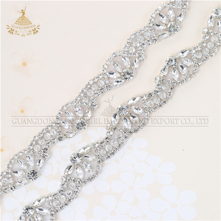 Rhinestone Applique trims Sew on Garment For Wedding Dress Bride's belt