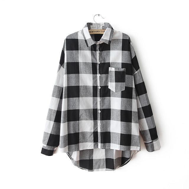 Womens Black And White Plaid Shirt | Artee Shirt