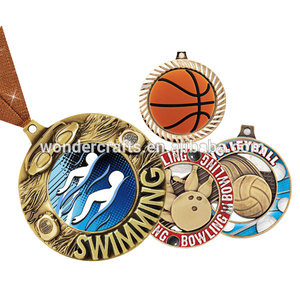 Custom metal sport medal custom medals swimming basketball bowling volleyball zinc alloy blank sport medal with ribbon