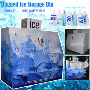 60Cu.Ft gas station bagged ice storage bin with logo artwork decal