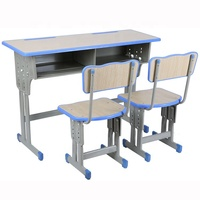 School Furniture Set Wooden Two Seater School Desk And Chairs with Double Tubes Classroom Desk & Bench Study Table For Children
