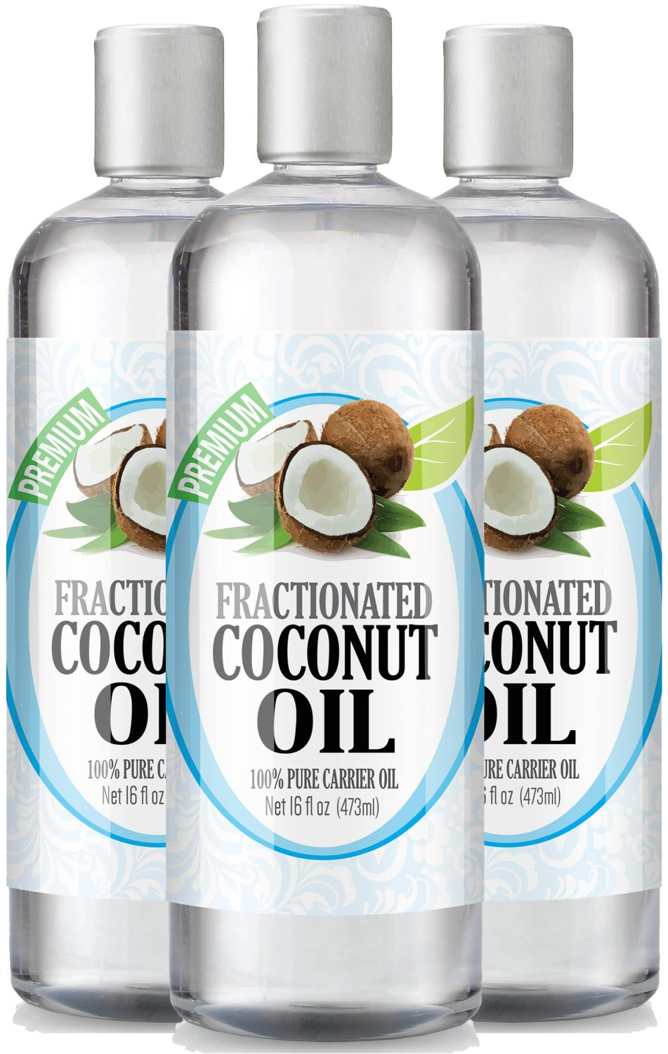Fractionated Coconut Oil 16oz - 100% Pure, Premium Therapeutic Grade - Best Base or Carrier Oil for Aromatherapy, Essential Oil, and Massage - Numerous Hair & Skin Benefits and Perfect for use in Creams, Shampoos, And Other Home Recipes - Large 16 ounce size - Pack of 3