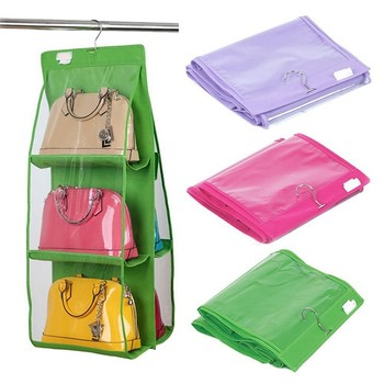 6 Pocket Shelf Bags Purse Handbags Hanging Organizer Storage Closet Rack Hanger
