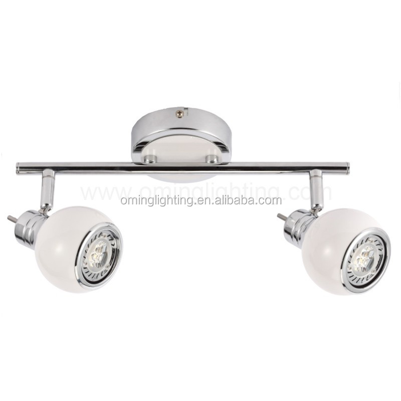 European fashion design 2 globe spotlight rail SMD/COB track led light white