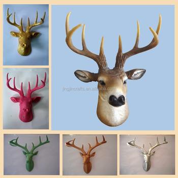 Elegant White Stag Deer Head Wall- Mounted White Deer Head Resin ...