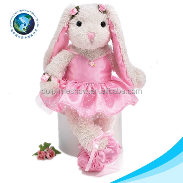 New Easter Day Gift Pink Long Ear Stuffed Plush Bunny Toy Custom