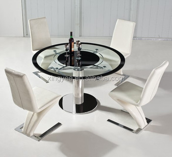 Modern Dining Room Furnitures House Swivel Single Leg Tempered Gl Top Tables Round Rotating Centre Table