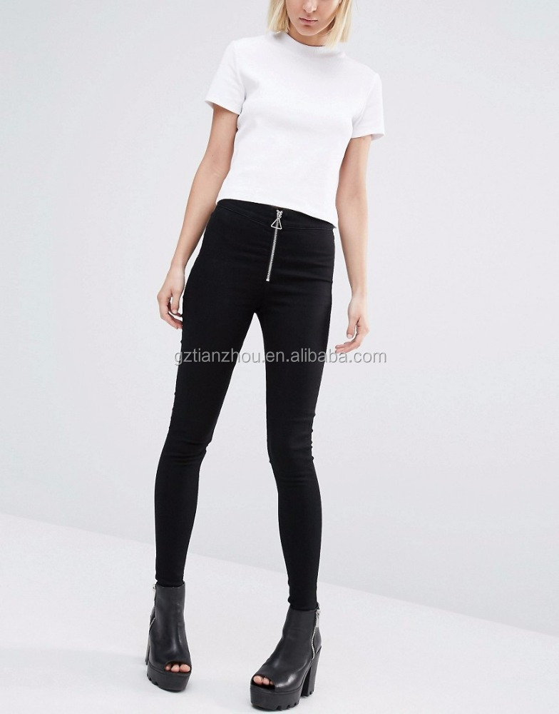 Hot Black High Waist Super Skinny Ladies Denim Jeans With Zip For Sale