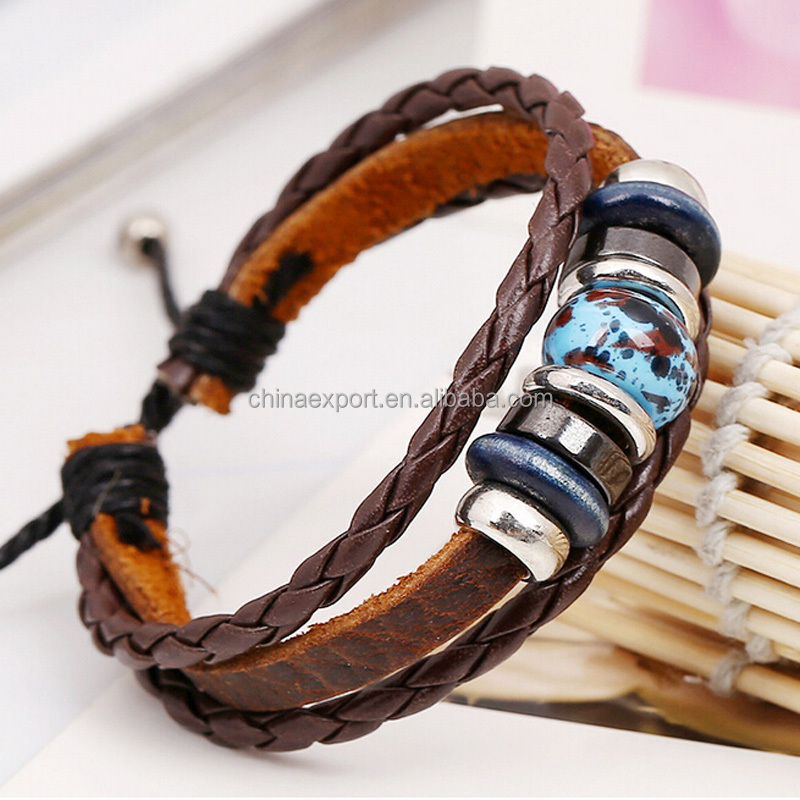 New adjustable cattle hide leather bracelets with alloy and wood beads for men