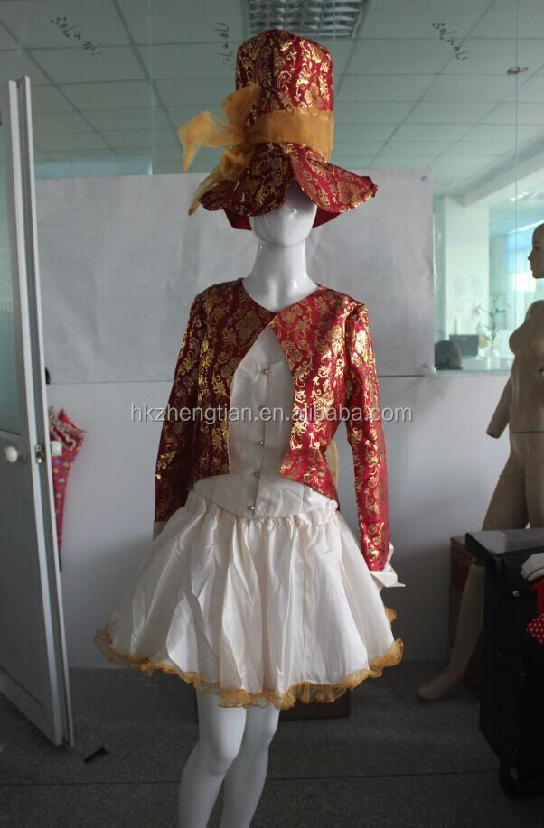 Instyles Quanzhou Ladies Mad Hatter Fancy Dress Up Tea Party Alice In Wonderland Hens Costume red gold