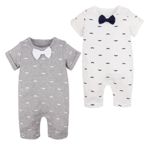 Summer baby bodysuit printing onesie baby clothes with bow tie cotton rompers