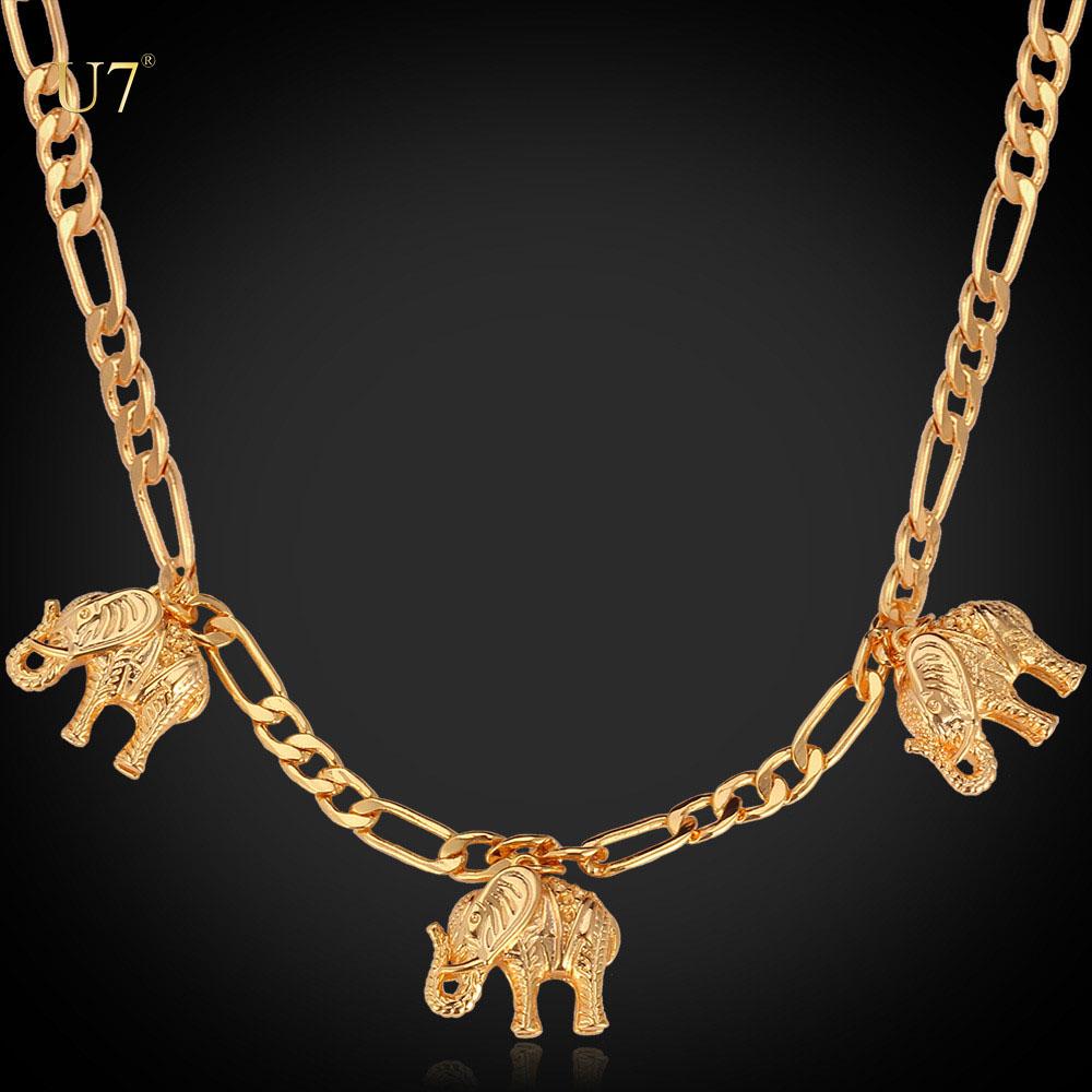 5a6957ac9463 U7 diseño único chapado en oro joyería moda unisex moda Figaro cadena pequeño  elefante encantos gargantilla