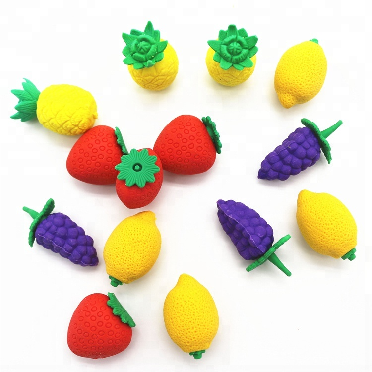 Hot selling custom 3D fruit vorm leuke promotionele novelty rubber potlood gum