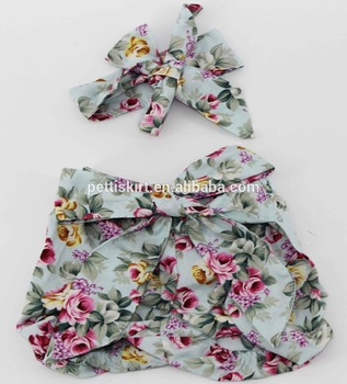 Printed Floral With Headband Lovely Short baby girl ruffled shorts