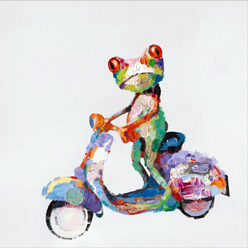 Osm Art Handmade Animals Oil Painting on Canvas Hang Picture Abstract Ride a Bike Frog for Living Room Decor Modern White Abstract Paintings