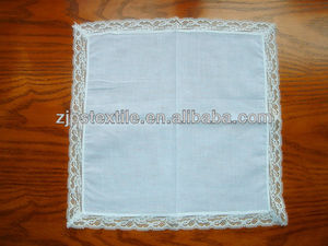 Hot sale plain white lace handkerchief simple and natural handkerchief