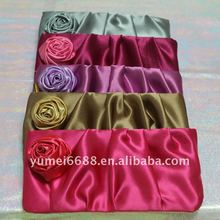 2012 latest designed high-end satin rose bag for cosmetics