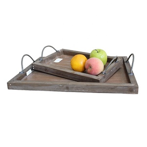 Custom Old Rustic Antique Vintage Farmhouse distressed Reclaimed Wood Storage Serving Tray