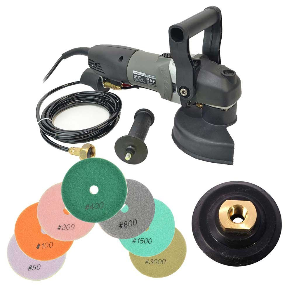 Hardin BR5GRIN Variable Speed Polisher Kit, VSP5 5 Variable Speed Polisher 700-3K RPM, 800W Wet Grinder With Under Hung Water Feed With 8 Peice 5 Inch Diamond Polishing Pad Set