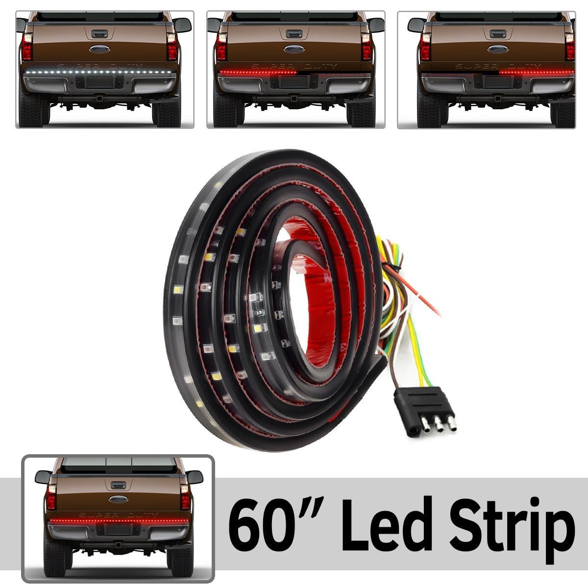 """Partsam 60"""" Truck Tailgate Reverse Brake Turn Signal Tail light Red White LED Light Bar for Ford Dodge Ram Super Duty RV Pickup Truck"""