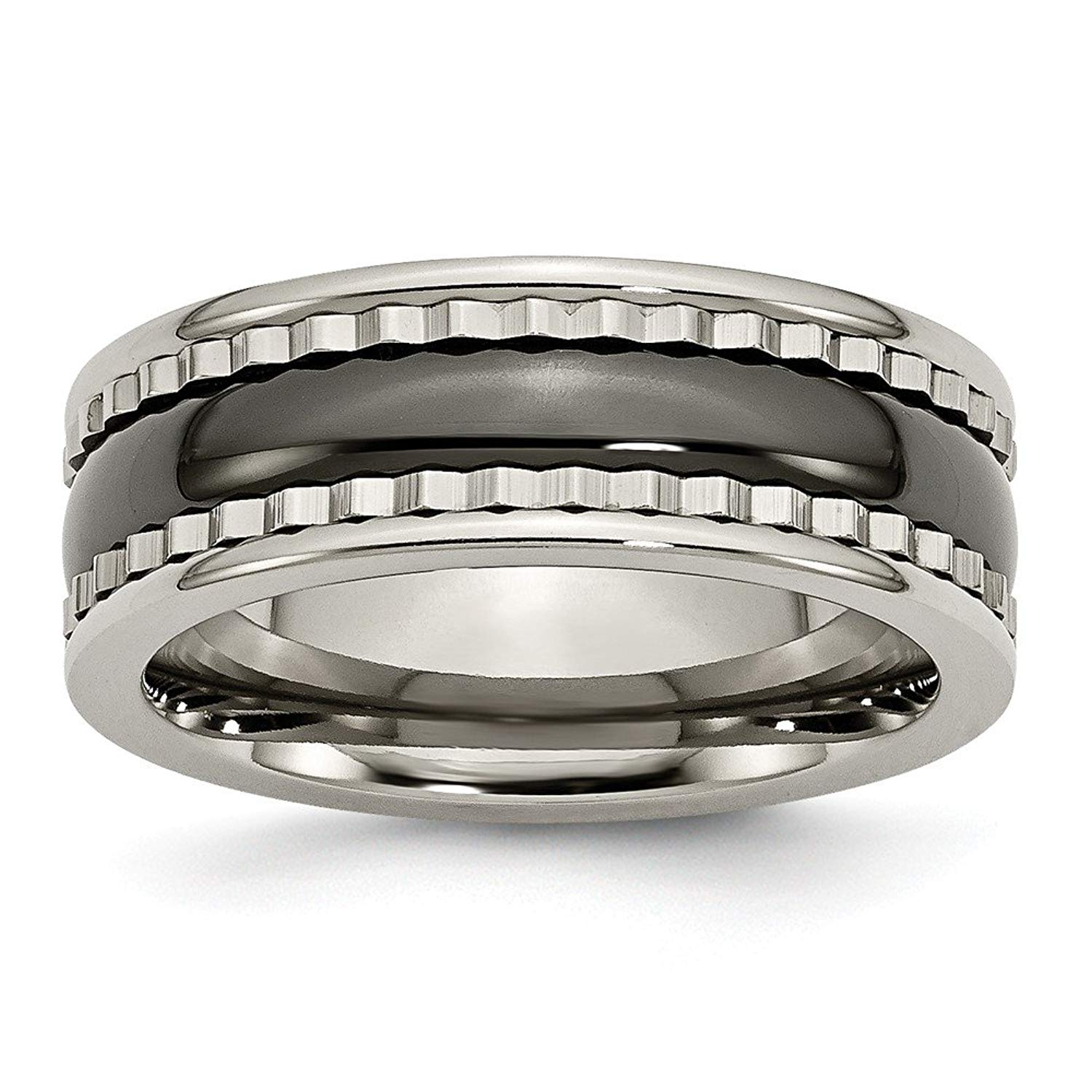 Top 10 Jewelry Gift Titanium w/Sawtooth Accent/Polished Black Ceramic Center 8mm Band
