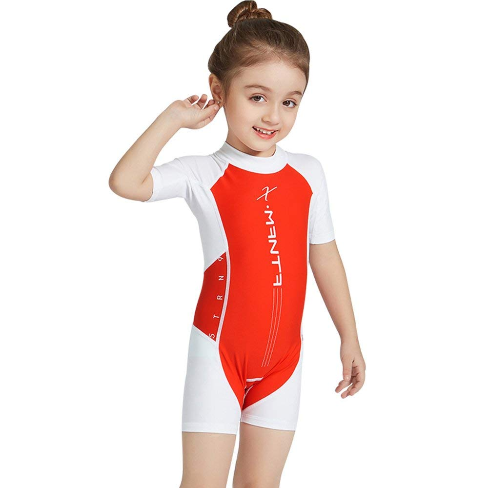 bcc297192a Get Quotations · TURPZOO Neoprene High Elasticity Sun UV Protection Kids  Boys Girls Short Sleeve One Piece Swimsuits Suits
