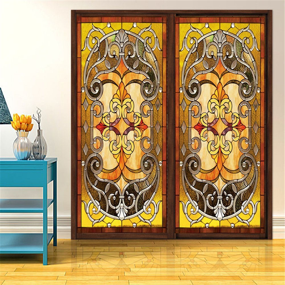 """OstepDecor Custom Translucent Non-Adhesive Frosted Stained Glass Window Films 12"""" W x 24"""" H (One Panel)"""
