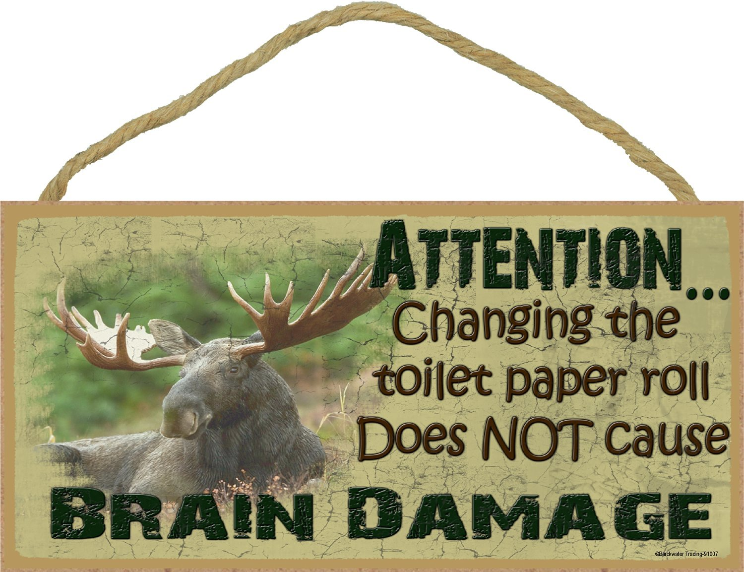 """Moose Changing The Toilet Paper Roll Does Not Cause Brain Damage Sign Plaque Lodge Cabin Decor 5""""x10"""""""