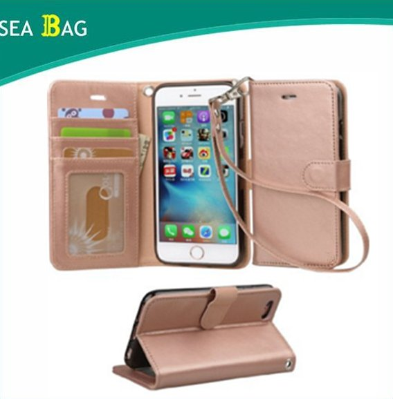 PU Leather Flip Folio Kickstand Wallet Case with Card Slots for iPhone 6 / 6S