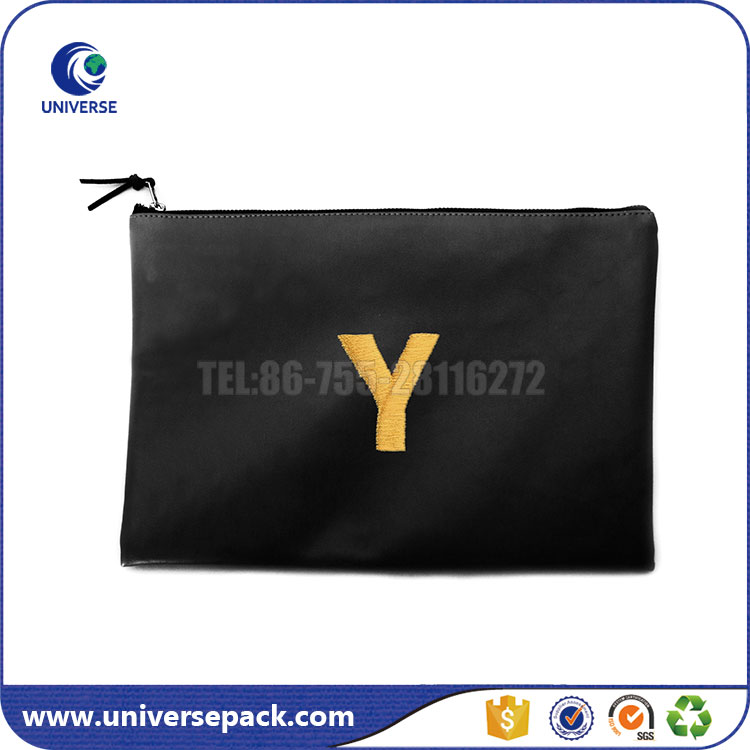 A-Z Letters Embroidery Pouch PU leather Zipper bag