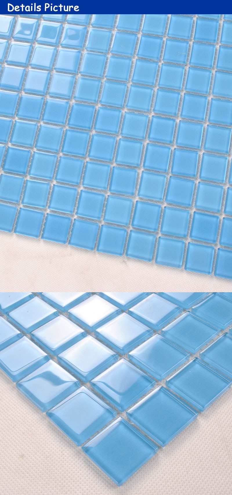 Greek Blue Stained Cutting Glass Mosaic Wall Tile For Swimming Pool ...