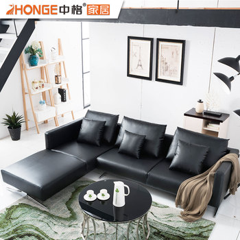 Black Modern L Shaped Contemporary Leather Corner Living Room Furniture  Sofa - Buy Contemporary Furniture Sofa,Leather Furniture Sofa,Corner Living  ...