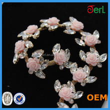 Newest Pink roses decorative rhinestone chain trim