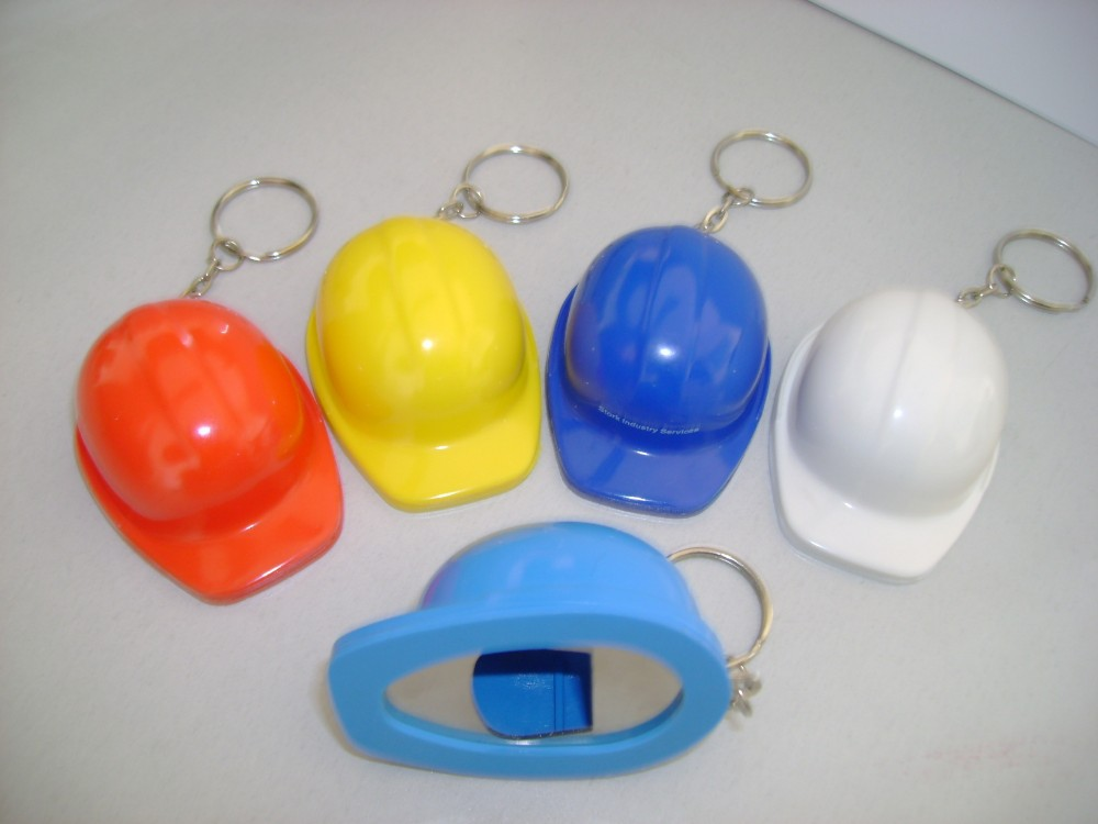 Helmet bottle opener