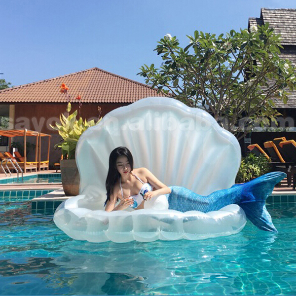 Custom giant inflatable seashell float clam shell pool float for adult