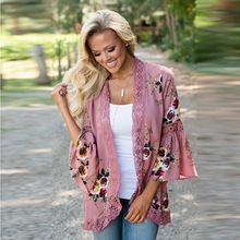 Instyle Womens Kimono Bloemen Chiffon Vest Lichtgewicht Print Shawl Open Front Beach Losse Tops Cover up Summer Blouse