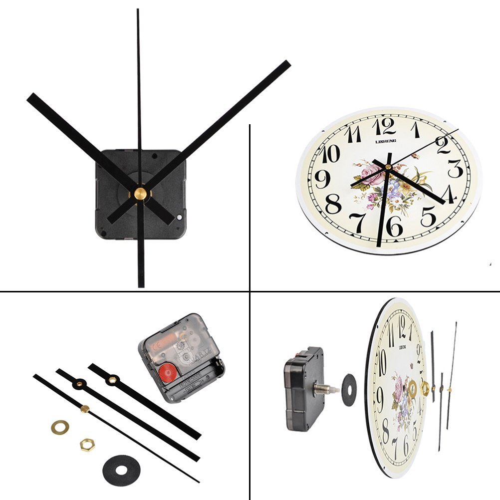 QLOUNI Ultra Silent Quartz Clock Movement, 2/ 5 Inch Maximum Dial Thickness, 4/ 5 Inch Total Shaft Length