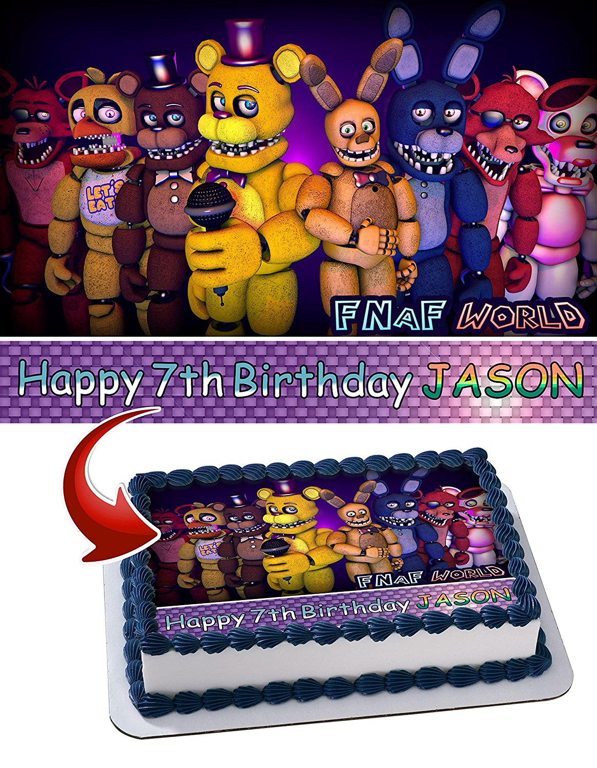 9f7108457e8e Get Quotations · Five Nights at Freddy s FNAF Birthday Cake Personalized Cake  Toppers Edible Frosting Photo Icing Sugar Paper